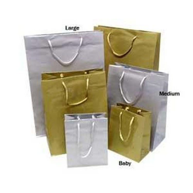 Picture of Metallic Laminated Paper Bags with Rope Handles - Medium