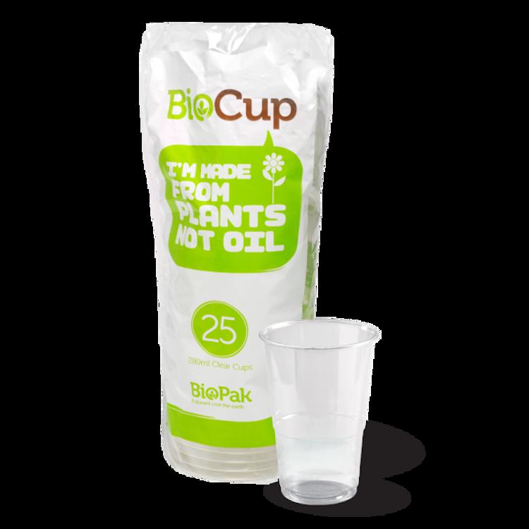 Picture of Clear Tumbler Cups (280ml) - 25pk - BioPak Clear